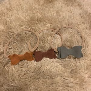 Leather Bow Nylon Headbands
